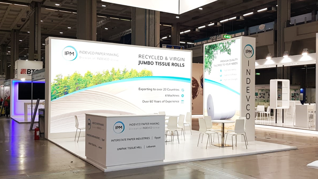 Indevco-Machines-stand-Tissue-World-expo-2019-design-connectdesign-agency-milano-Germany-europe-communication-tradeshow-fiere-allestimento-international-minimal-light-3